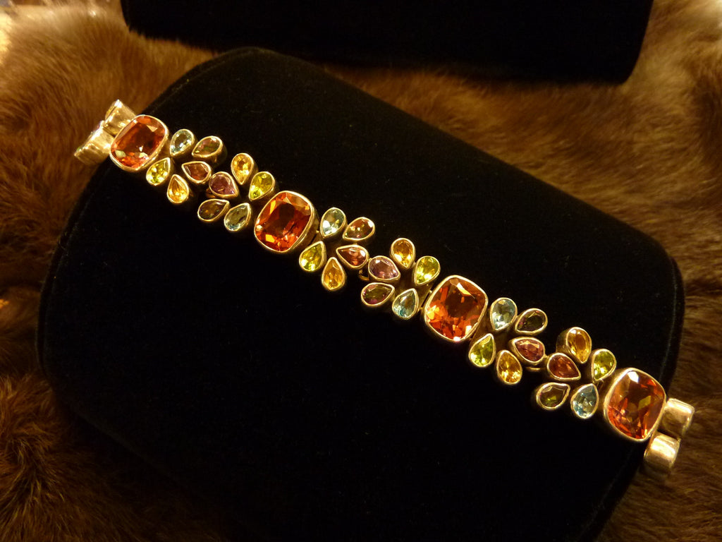 Semi Precious Stones and Sterling Silver Link Bracelet - Native American Made - Amythest, Peridot, Aquamarine, Citrine, Salmon Topaz