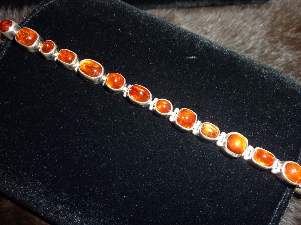 Amber and Sterling Silver Link Bracelet - Native American Made