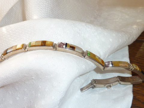 Semi Precious Stones and Sterling Silver Link Bracelet - Hand Made Jewelry by Native Americans in the USA - Amythest, Peridot, Aquamarine, Citrine, Salmon Topaz