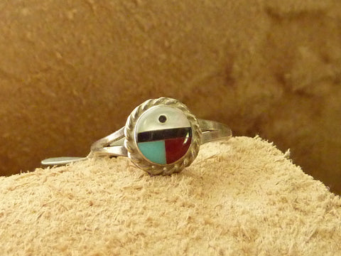 Native American Jewelry - Sterling Silver Filigree and Turquoise Ring Size 5.25 and 5.5 - Hand Made in the USA