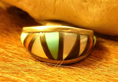 Wild Horse, Jasper, Yellow Mussel, Mother of Pearl and Sterling Silver Native American - A Touch of Santa Fe Men's Link Bracelet