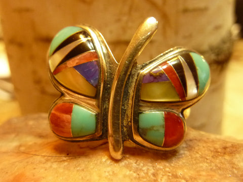 Native American Jewelry - Sterling Silver and Cultured Opal Turtle Ring Size 8.5 - Hand Made in USA