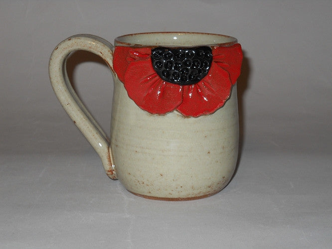 Pottery Poppy Mug - Flower Kitchen Accessories - Hand Made in USA