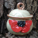 Pottery Poppy Garlic Keeper - Hand Made in USA - Kitchen Accessory