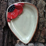 Pottery Poppy Spoon Rest - Hand Made in USA - Flower Kitchen Accessory