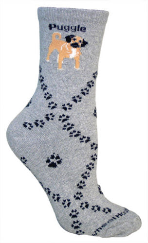 Puggle on gray - Made in USA - Dog Socks