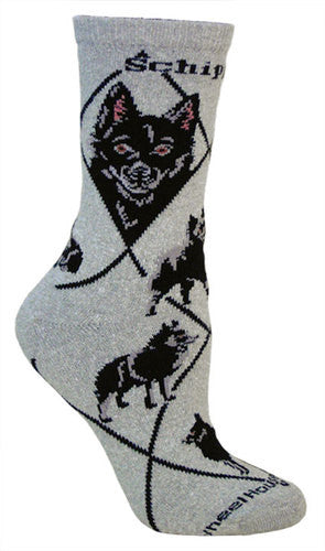 Schipperke on gray - Made in USA - Dog Socks