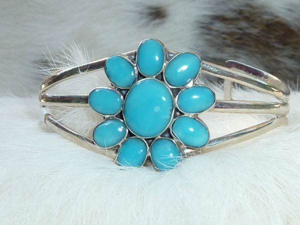 Turquoise Flower and Sterling Cuff Bracelet