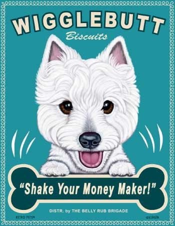 West Highland White Terrier Dog Print - Artwork Made in USA - Wild Westie Frisky Whisky(ONLY 1 LEFT)