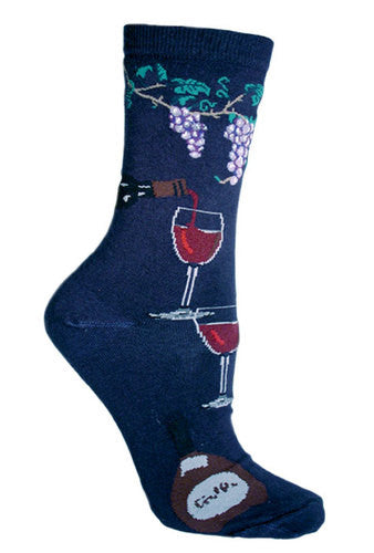 Wine Country Navy Socks for Men and Women - Made in USA
