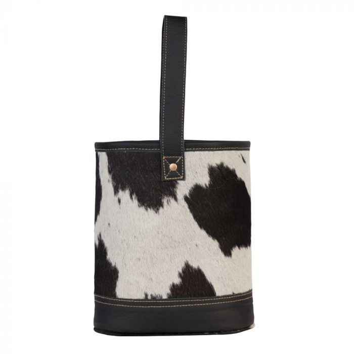 Myra Bag - Patches Wine Bag - Black - White - Cow Hide
