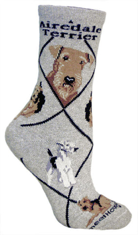 Bull Terrier Socks for Men and Women - Gray or Taupe - Made in USA - Dog Socks