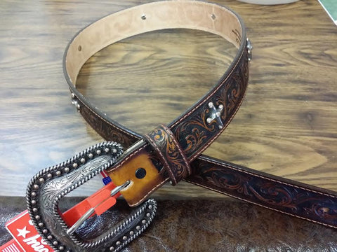 JUSTIN BENT RAIL SANDED BROWN LEATHER BOMBER BELT MADE IN THE USA