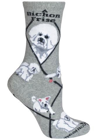 Bichon Frise Socks for Men and Women - Black - Made in USA - Dog Socks