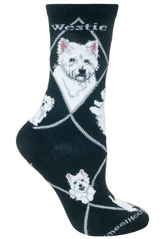 Westie Socks for Men and Women - Black - Made in USA - Dog Socks - West Highland Terrier