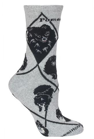 Pomeranian (Black) Socks for Men and Women - Grey - Made in USA - Dog Socks