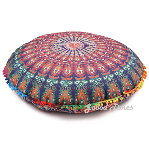 "Goood Times Blue Decorative Floor Pillow Cushion Cover Mandala- 32"" - Oussum"