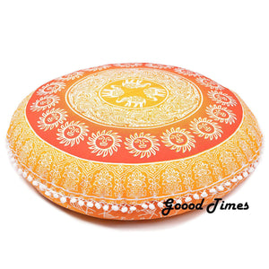 "Goood Times Yellow Bohemian Decorative Floor Pillow Cushion Cover Mandala- 32"" - Oussum"