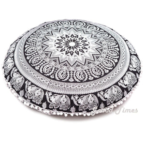 "Goood Times Black & White Decorative Floor Pillow Cushion Cover Mandala- 32"" - Oussum"