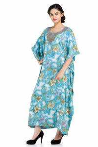 Blue Color With Cool Floral Print Long Caftan for Women - Oussum