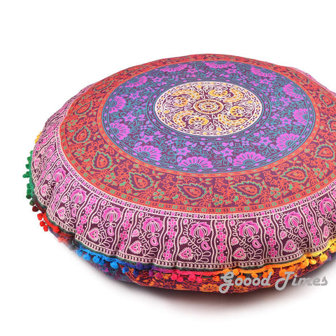 "Goood Times Multi-color Decorative Floor Pillow Cushion Cover Mandala- 32"" - Oussum"
