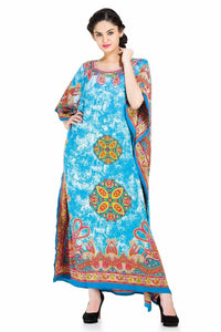 Cool Blue Plus Size Kaftan for Womens - Oussum