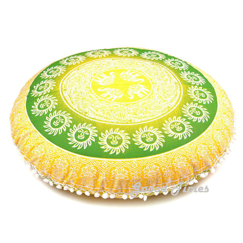 "Goood Times Yellow Decorative Floor Pillow Cushion Cover Mandala- 32"" - Oussum"