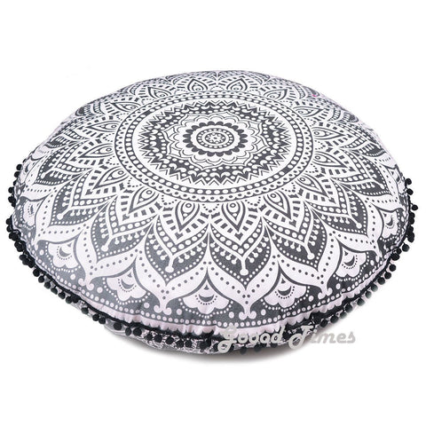 New Large Oversized Black Ombre Hippie Bohomian Throw Decorative Floor Pillow Cushion Cover Mandala - 32""