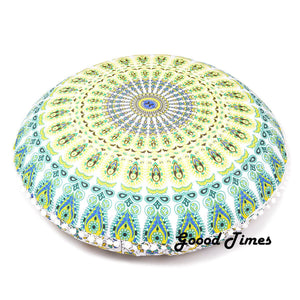 "Goood Times White yellow Decorative Floor Pillow Cushion Cover Mandala- 32"" - Oussum"