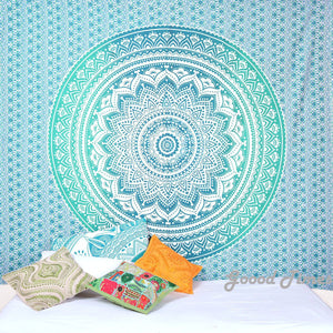 Goood Times Queen Size Green Ombre Mandala Tapestry