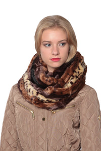 Leopard Faux Plush Scarf,Infinity Scarf,Fashion New Winter Warm Soft Fur Infinity Scarf - Oussum