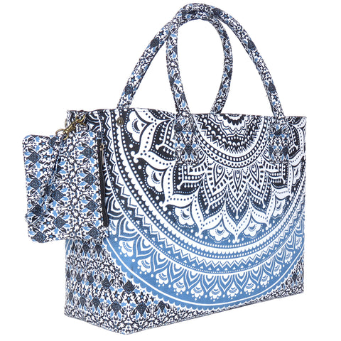 Blue Black Sufficiently Colored mandala Beach Bag