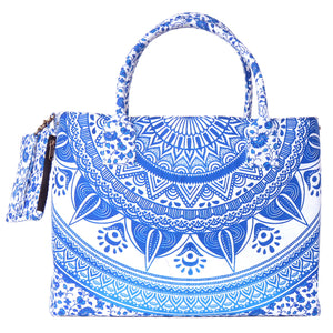 Royal Blue Colored Mandala Printed Beach Bag