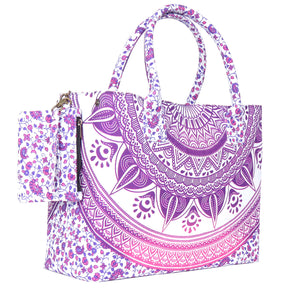 Pink Colored Sassy Mandala Beach Bag