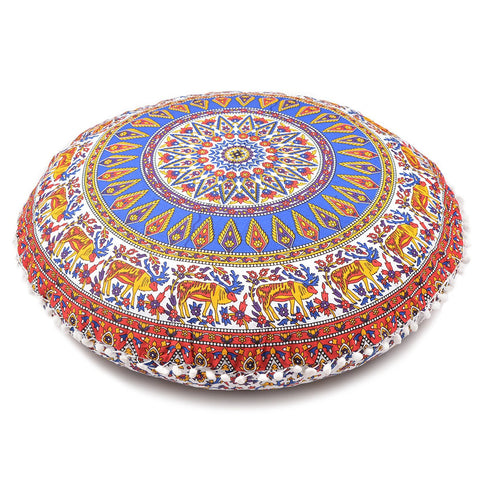 Large Oversized Multi-Color Hippie Bohomian Throw Decorative Floor Pillow Cushion Cover Mandala - 32""