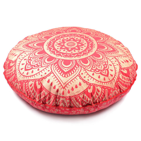 New Large Oversized Red Golden Hippie Bohomian Throw Decorative Floor Pillow Cushion Cover Mandala - 32""