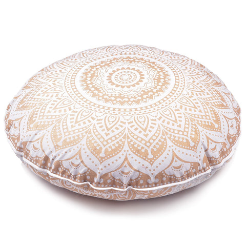 New Large Oversized White Golden Hippie Bohomian Throw Decorative Floor Pillow Cushion Cover Mandala - 32""
