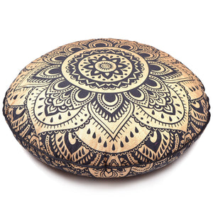 New Large Oversized Black Golden Hippie Bohomian Throw Decorative Floor Pillow Cushion Cover Mandala - 32""