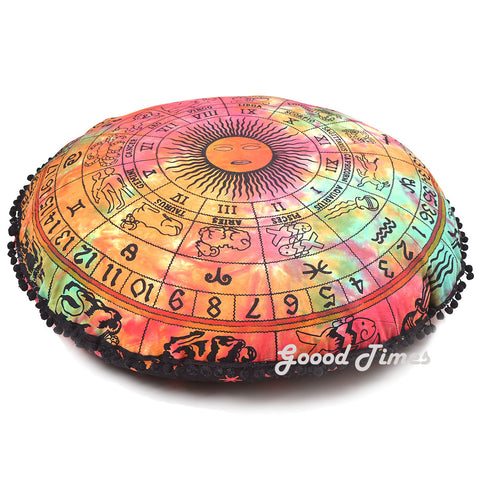Zodiac Pattern Round Decorative Floor Pillow Cushion Cover