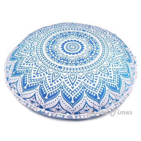Large Oversized Blue Hippie Bohomian Throw Decorative Floor Pillow Cushion Cover Mandala - 32""