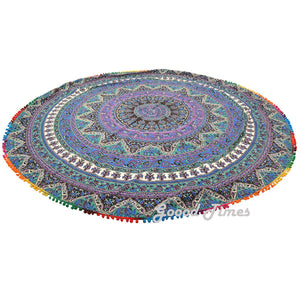 "Mandala Roundie Beach Picnic Spread Hippie Towel Tapestry - 80"" - Oussum"