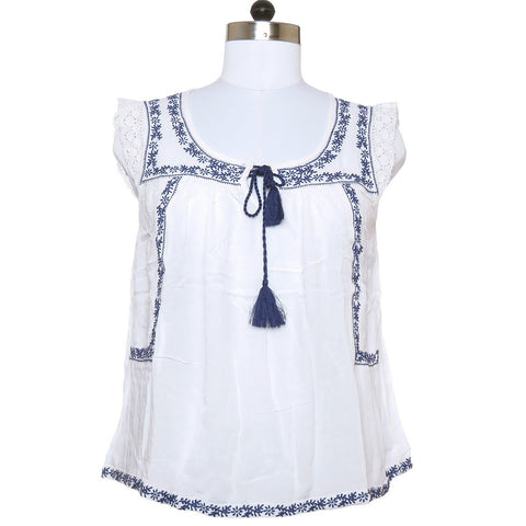Dignified Short Sleeves Misses Top with Floral Vine Embroidery