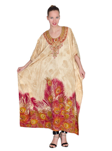Long Plus Size Kaftan for Women  With Sparkly Golden Beauty - Oussum