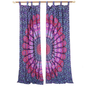 Home Decorating Purple Handcrafted Indian Mandala Print Curtain