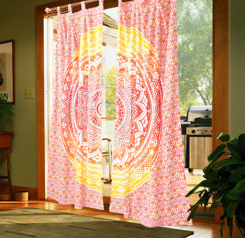 Home Decorating Red and Yellow Handcrafted Indian Mandala Print Curtain