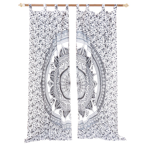 Home Decorating Black and White Handcrafted Indian Mandala Print Curtain