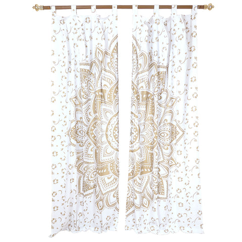 Home Decorating White Handcrafted Indian Mandala Print Curtain With Golden Print