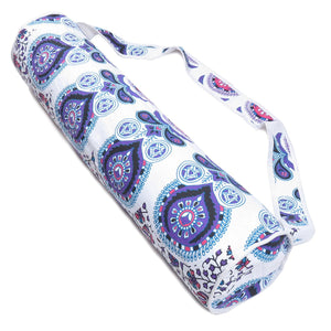 Handmade White Pink Mandala Cotton Yoga Mat Bag with Shoulder Strap - Oussum