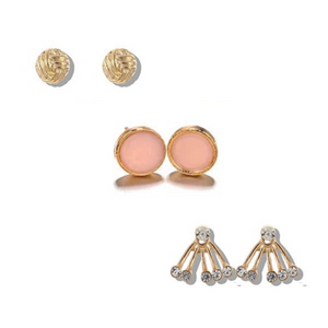 Assorted Stud Earring Set - 3 Pack