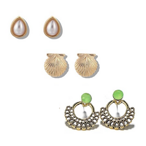 Pearl and Seashell Earring Set - 3 Pack